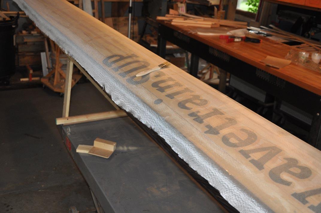 picture of adding fiberglass to a supCAT pontoon